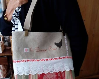 Linen and vintage fabric bag