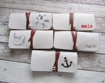 Filz Tasche, Brillenetui, Stifte Mäppchen, Schminktäschchen (beige) mit verschiedenen Designs von Frollein KarLa
