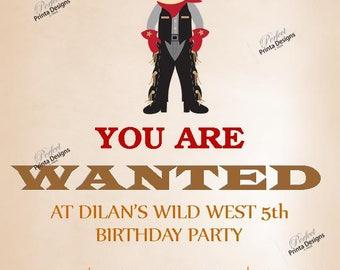 Cowboy, Wild West, Wanted Birthday Invitation