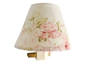 Shabby chic lamp shades etsy shabby cottage chic floral night light pink floral lamp shade kids room nursery aloadofball Gallery