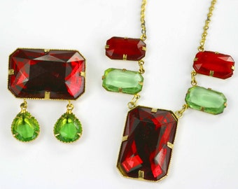 Unusual Art Deco Necklace And Brooch Set - Demi Parure - Red & Green