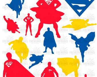 Superman SVG - Superman silhouette - Superman Clip art - Superhero logo svg - Files for silhouette - Files for Cricut - Digital Download