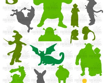 Shrek Silhouette SVG - Shrek svg - Fiona Svg - png jpg svg eps files high resolution - Cartoon characters Shrek - instant download