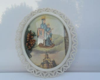 Small frame reliquary Madonna and child with Cathedral souvenir religious Lourdes 1960/1970