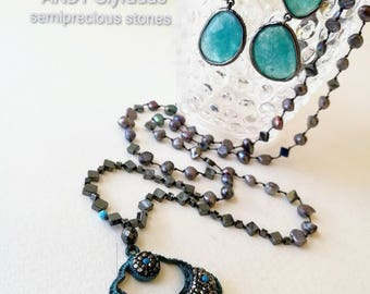 Handmade Necklace Hematite and Gray Unprocessed Pearl with Turquoise stone and Swarovski,Metal Brass,Nickel Free