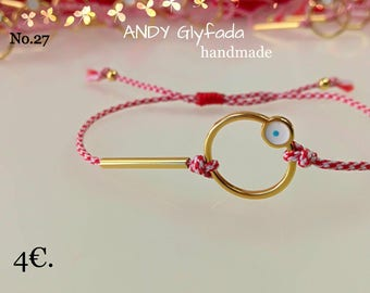 Greek Handmade March Bracelets from our Collection-Gold Plated Circle with Eye
