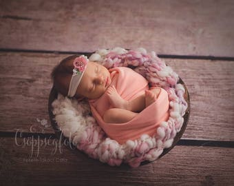 RTS Pink-Ivory Handspun Blanket Newborn Photography Prop