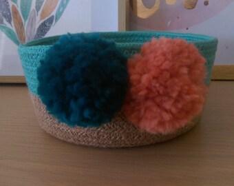 Aqua and natural rope coiled basket
