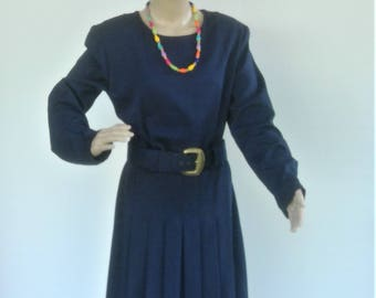 Vintage Molly Malloy Pleated Skirt Belted Ladies Tailored Dress
