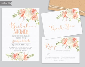 Peaches and Cream Bridal shower invitation, Bridal shower invitation printable, Pastel Bridal Shower Invitation, Bridal Shower Invitation