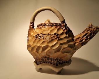 Koi Teapot II. Wheel Thrown and Hand Carved One of a Kind Stoneware Teapot.