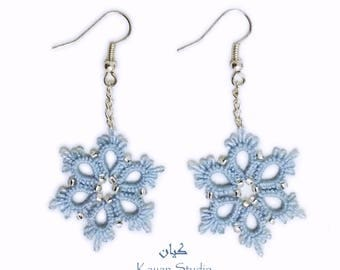 Christmas Earrings \ Snowflake Earrings \ Lace Earrings \  Blue Earrings \ Christmas Gift \ New Year gift \ Tatted earrings \ Gift for Her