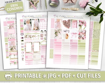 OH SO HAPPY Printable Planner Stickers/Weekly kit/for use with Erin Condren/Cutfiles Valentines Day Photo Kit Floral Wedding Garden Pastel