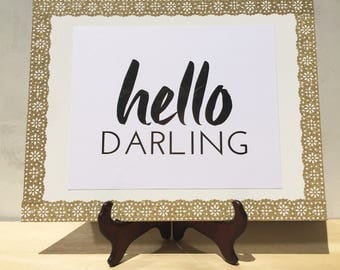 Hello Darling 11x14 Canvas Pallet Wall Print