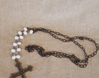 Cross necklace, cross pendant, chain necklace, religious necklace, rosary chain, long necklace