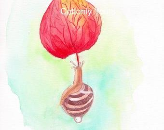 Watercolor Print -'Snail - in flight'