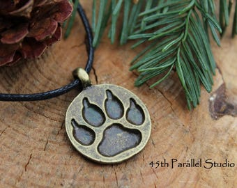 Bear Paw Necklace, Mens Necklace, Adjustable Necklace, Rustic Necklace, Nature Jewelry, Animal Necklace, Bear Jewelry, Gift for Him