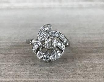 Art nouveau diamond cocktail ring in 14k white gold