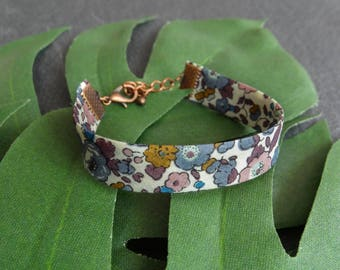 Adjustable bracelet, Liberty London Betsy Ann B, flowers, purple and pink
