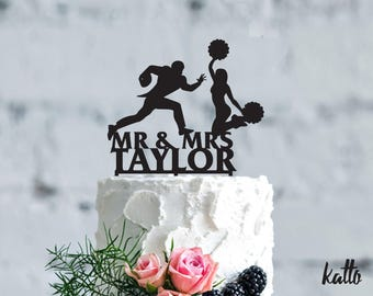 American Football wedding cake topper- Customizable Wedding Cake Topper- Personalized football cake topper- Football Wedding Cake topper
