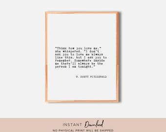 F Scott Fitzgerald, Literary Quote, Quote Wall Art, Book Quote, Literary Print, Book Quote Print, Literary Poster, Printable Wall Art