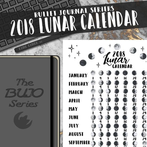 calendrier lunaire 2018 la s rie bujo bullet journal moon. Black Bedroom Furniture Sets. Home Design Ideas