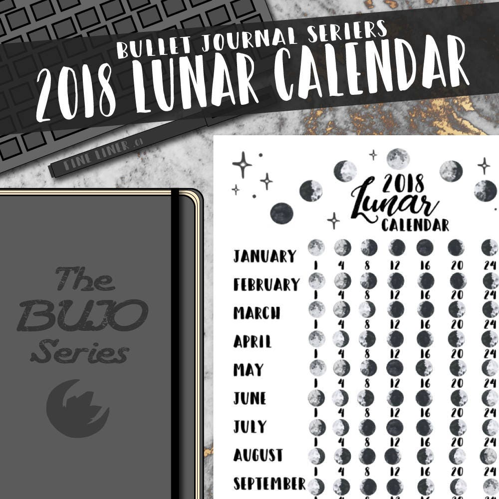 Calendar Bullet Journal 2018 : Lunar calendar the bujo series bullet journal moon