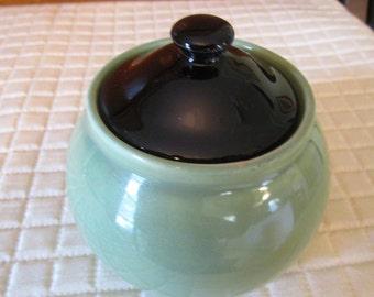 Hall Sugar Bowl, Black lid, Green
