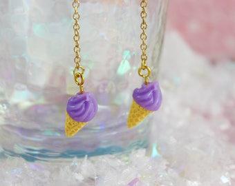 Sweet Fairy Kei Pastel Purple Ice Cream Cone Dangling Earrings
