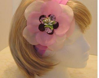 pink headband, pink flower headband, wedding headband,  flower girl headband, bat mitzvah headband, large flower headband