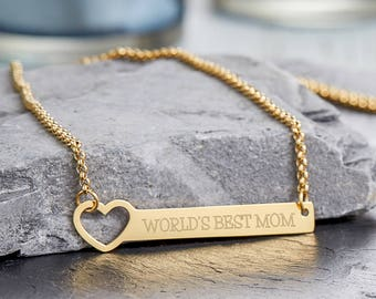 Stainless Steel Necklace with Engraved Pendant - Heart - World's Best Mom - Gold, Silver or Bronze - Gift for Mothers - Mother's Day