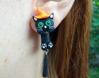 Halloween gift earrings Cat gifts Cat jewelry Ear jackets Black cat Halloween cat Autumn earrings Halloween jewelry gift Unique jewelry