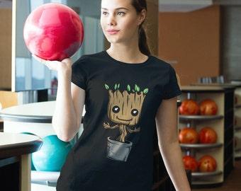 Ladies Cut Cute Baby Groot