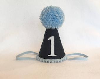 Navy Blue Birthday Hat, Blue Birthday Hat, Boys First Birthday Hat, Nautical Birthday Hat, Sailor Birthday Hat, Felt Birthday Hat, Party Hat