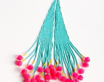 7 inch Turquoise Blue Beaded Earrings, valentine gift her, pink pom poms, only 1 made, native style beaded earrings, valentine's day gift