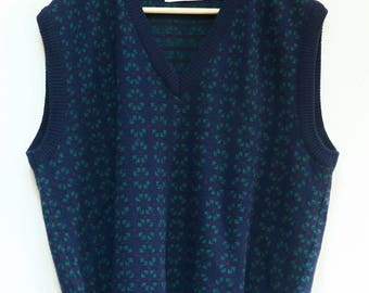 Vintage Wool Sweater Vest Made in USA Size L Made in Italy Solid Plaid Blue and Green Sleeveless Sweater Vest