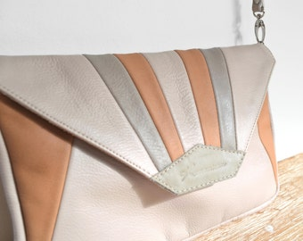 """MADU"" pink, Tan and gray leather clutch"