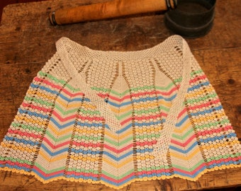 Crocheted Apron in Multi Colours - Vintage
