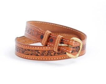 western leather belt | brown belt | southwestern accessories | western floral belt | boho waist belt | skinny dress belt | size 30