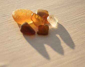 RARE ORANGE SEAGLASS | English seaglass pieces | Patterned sea glass | Jewellery making | Craft supplies | Vintage glass cabochons