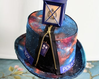 Doctor Who Inspired TARDIS Full Sized Top Hat - Galaxy, Police Box