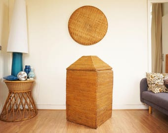 Large vertical trunk in rattan and wicker woven vintage