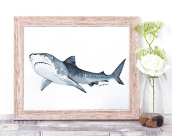 Tiger Shark // Original Watercolor Painting // Home Decor // Bathroom Decor  /