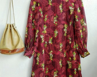 1980s Red Floral and Paisley Vintage Dress // Vintage Dress // Summer & Floral Dress
