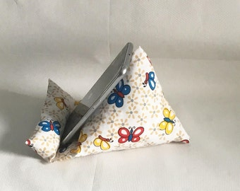 Smartphone stand, fabric phone stand, Iphone pillow, butterfly print, cellphone holder, gift for her, Christmas gift, mobile phone pillow