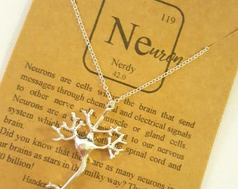Nerdy Neuron Cell Molecule Science Chemistry Gift Jewelry Necklace