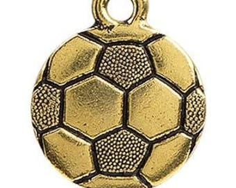 304 - Soccer, Pewter, 19mm, Antique Gold - Package of 1