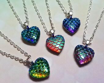 Mermaid heart necklace, Mermaid scale necklace, Pendant necklace, Mermaid scale, Heart, Heart pendant, Mermaid jewellery, Mermaid, Fantasy