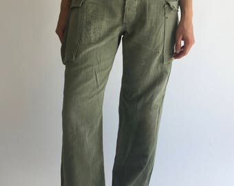 Reserved for Honey Sound *Vintage 31 Waist Military Herringbone Twill High Waisted Pants | Green Cotton Fatigue Army Pants | Cargo Olive Gre