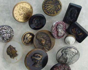 Lot of 14 Vintage Face Buttons